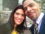 on set of hallelujah with laura gomez